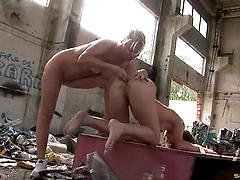 Two lesbian whores lick anuses and stretch assholes in the trash Anal big cocks blondes