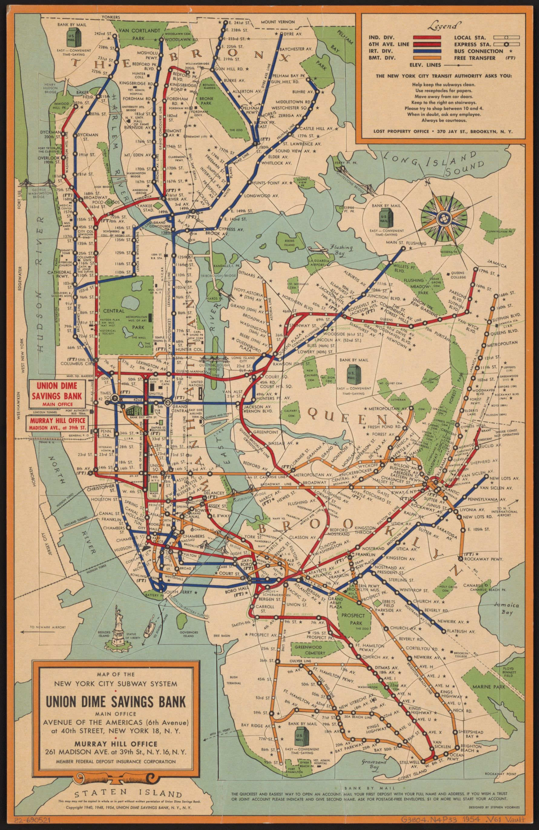 Maps Vintage Map Shows New York City Subway System In