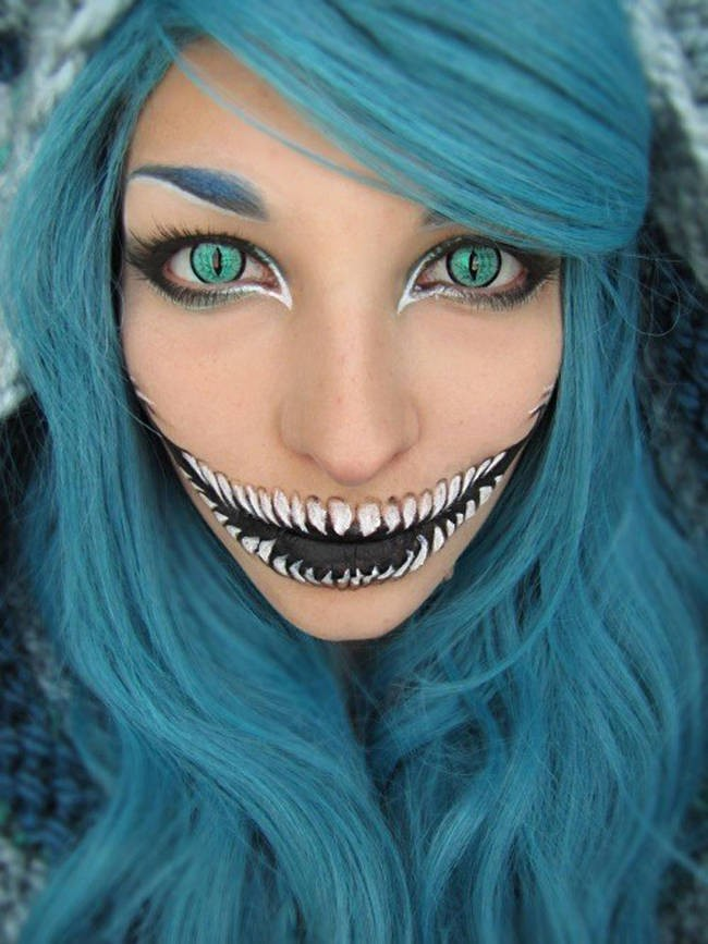 This cheshire cat make-up is too unnatural to miss.