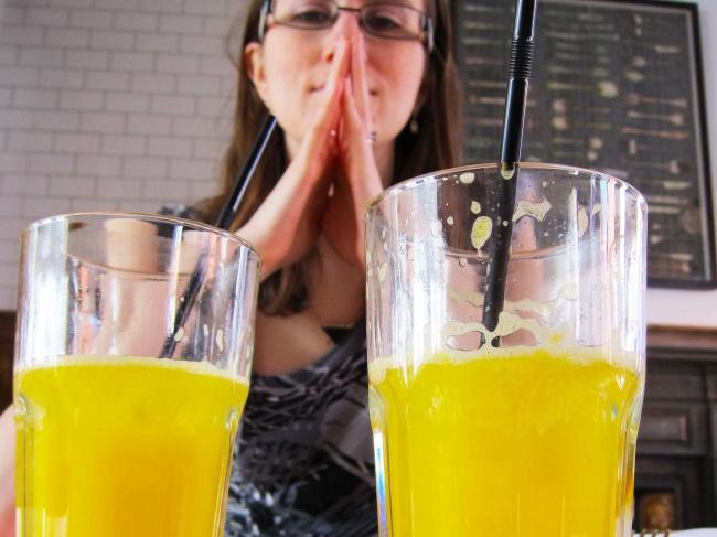 Drinking freshly squeezed juice