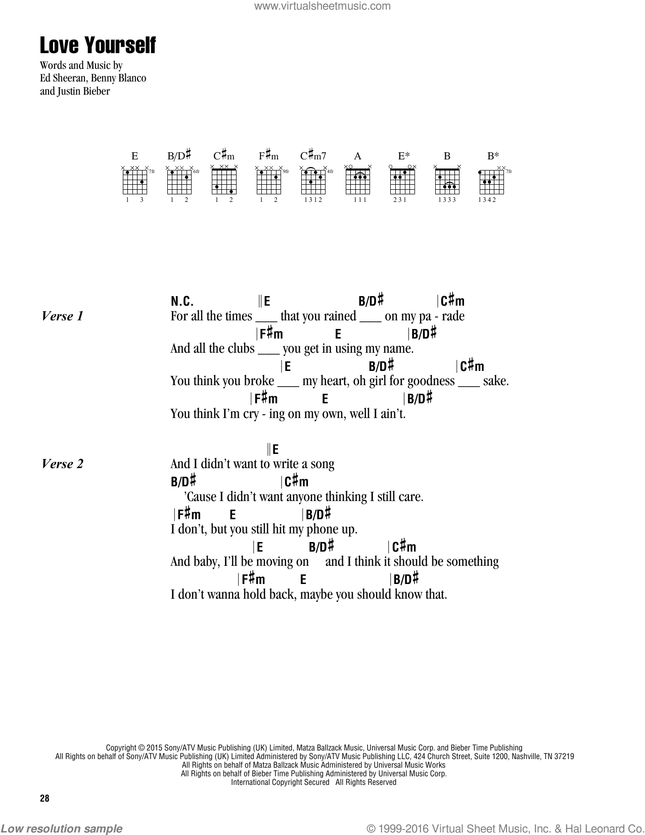 Love Yourself Chords : yourself, chords, Bieber, Yourself, Sheet, Music, Guitar, (chords), [PDF]
