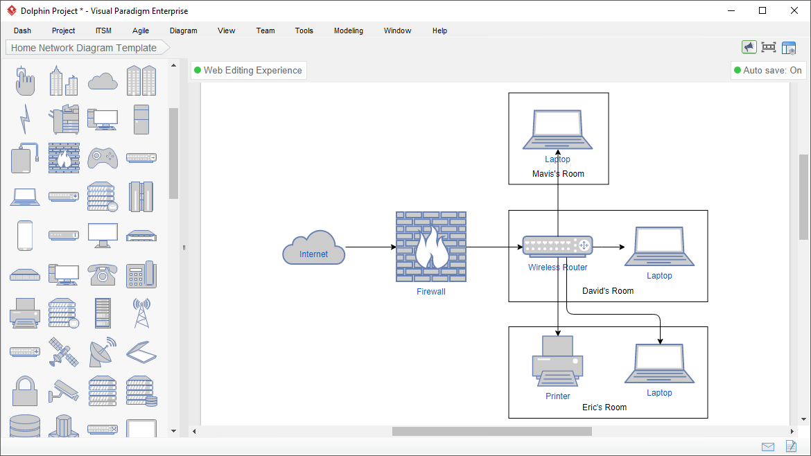 software to create network diagram data flow context symbols