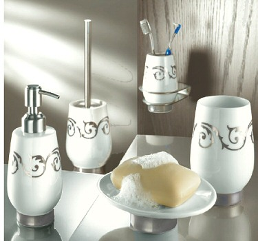 Viva Silver  White Porcelain Tumblers Toothbrush Holders