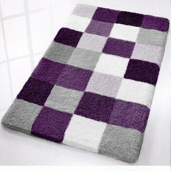 Caro  Checker Pattern Rich Multi Color Plush Bathroom Rug