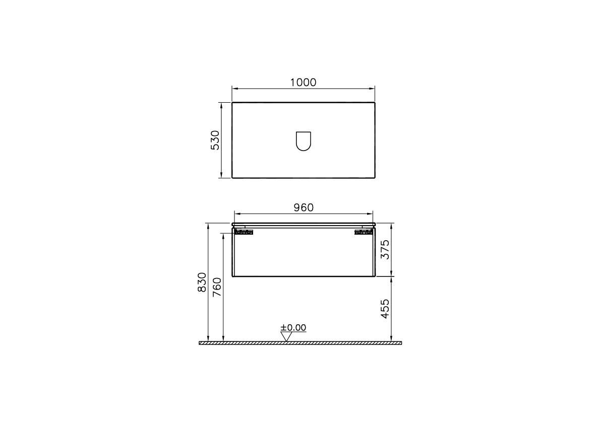 System Fit Washbasin Unit, 100x53x37 cm, Metallic Mink