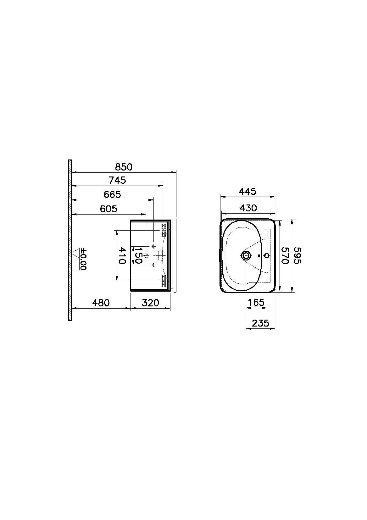 Nest Trendy Washbasin Unit, 1 Drawer, without Basin, 60 cm