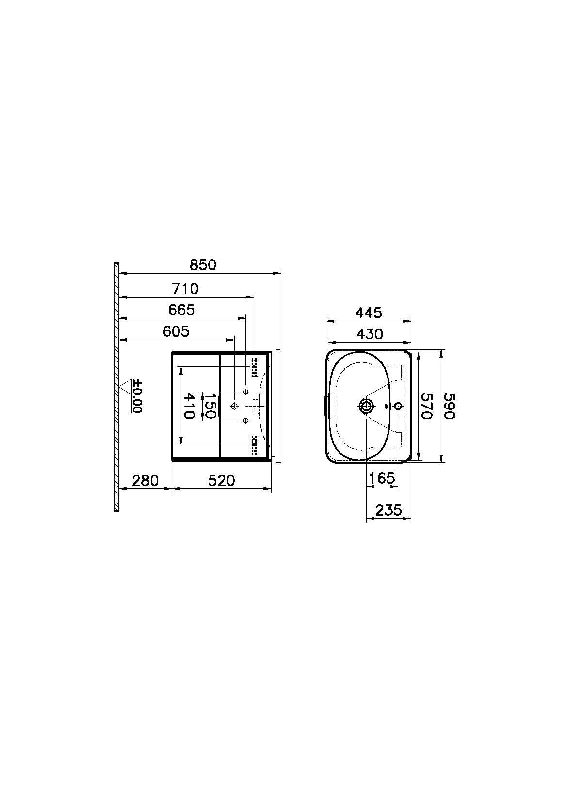 Nest Trendy Washbasin Unit, 2 Drawers, without Basin, 60