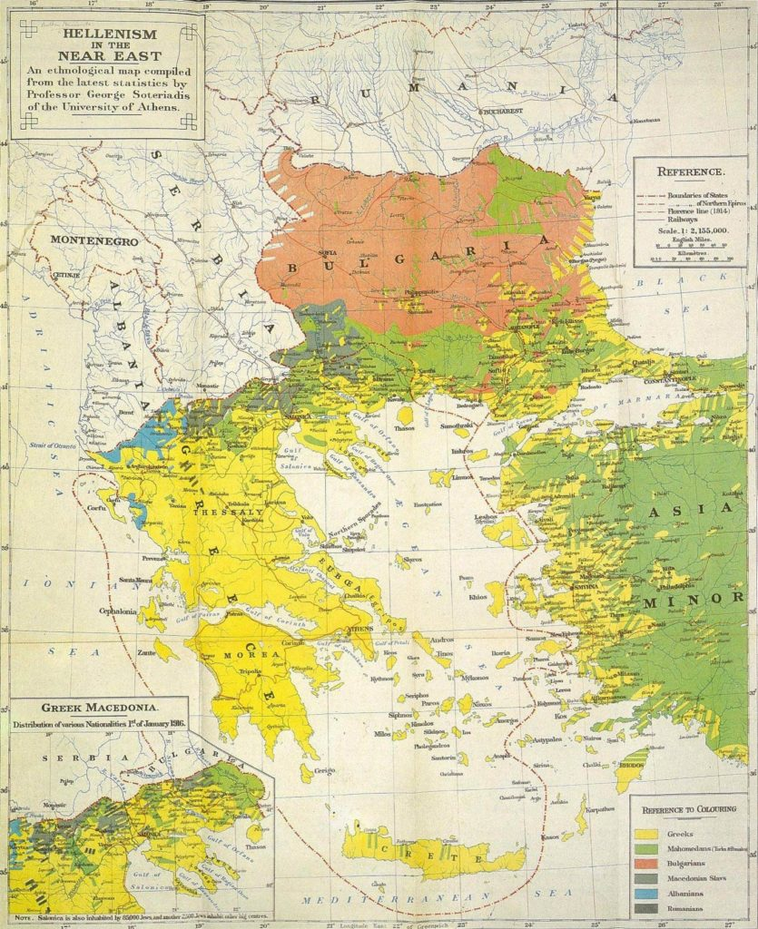 Greek ethnographic map from 1918 showing Macedonian as a separate language.