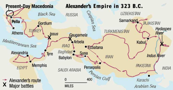 Map of Alexander's Empire