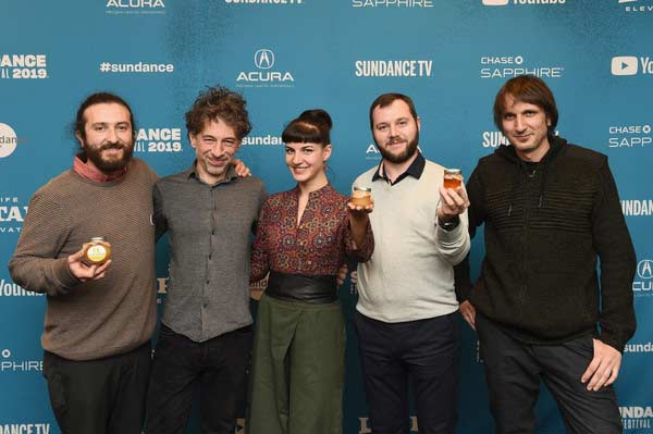 "(L-R) Cinematographer Samir Ljuma, Director Ljubomir Stefanov, Director Tamara Kotevska, Cinematographer Fejmi Daut, and Producer and Editor Atanas Georgiev attend the ""Honeyland"" Premiere during the 2019 Sundance Film Festival at Park Avenue Theater on January 28, 2019 in Park City, Utah."