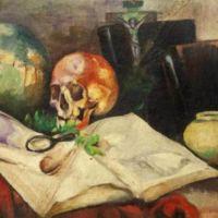 Nikola Martinoski - Still life with a skull - Мртва природа со череп c 1920