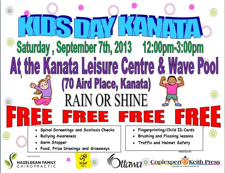 3rd Annual Kids Day Kanata  Kanata ON  Hazeldean Family Chiropractic Clinic