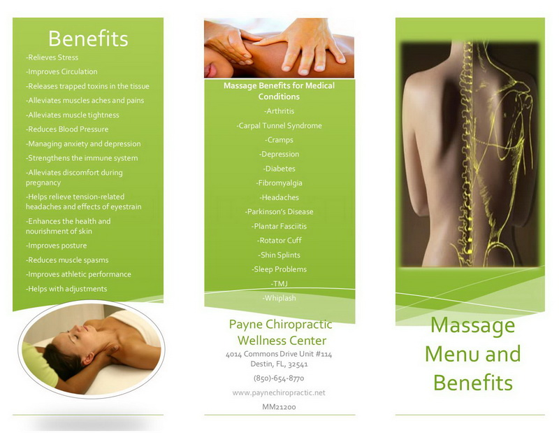 Massage Brochure Resume Template Sample