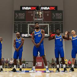"""From left: Shammy Wells (<em>NBA 2K18</em>), Jackson Ellis (<em>NBA 2K14</em>), player-character Vespasian King, Sheldon """"ATM"""" Middleton (<em>NBA 2K19</em>), and Andre """"Vlad the Impaler"""" Hagi <em>(NBA 2K19</em>)"""