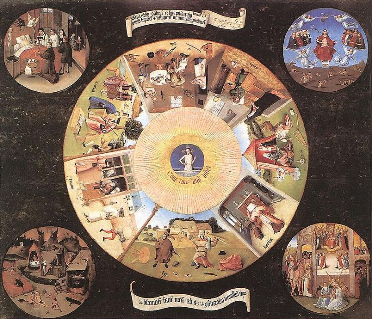 Hieronymus Bosch's The Seven Deadly Sins and the Four Last Things, painted around 1500.
