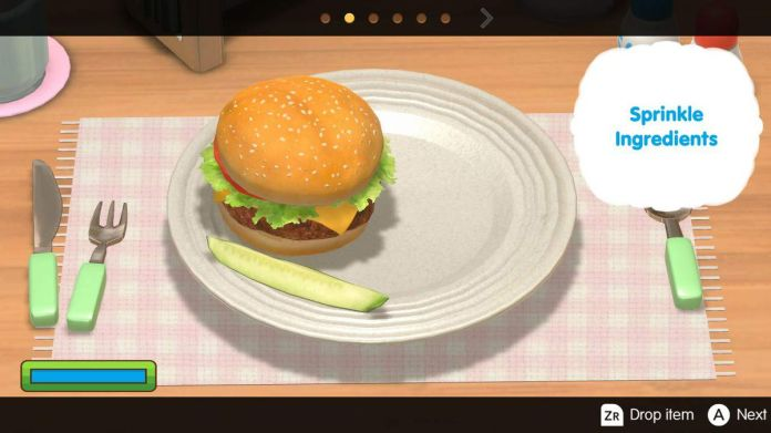 Cooking Mama asks you to put ingredients on a burger in Cooking Mama: Cookstar
