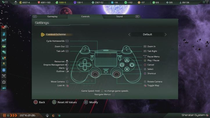 a menu showing the controller layout in Stellaris: Console Edition