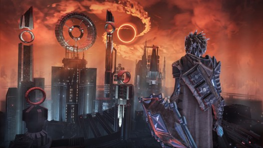 A big tower and the player character in Hellpoint