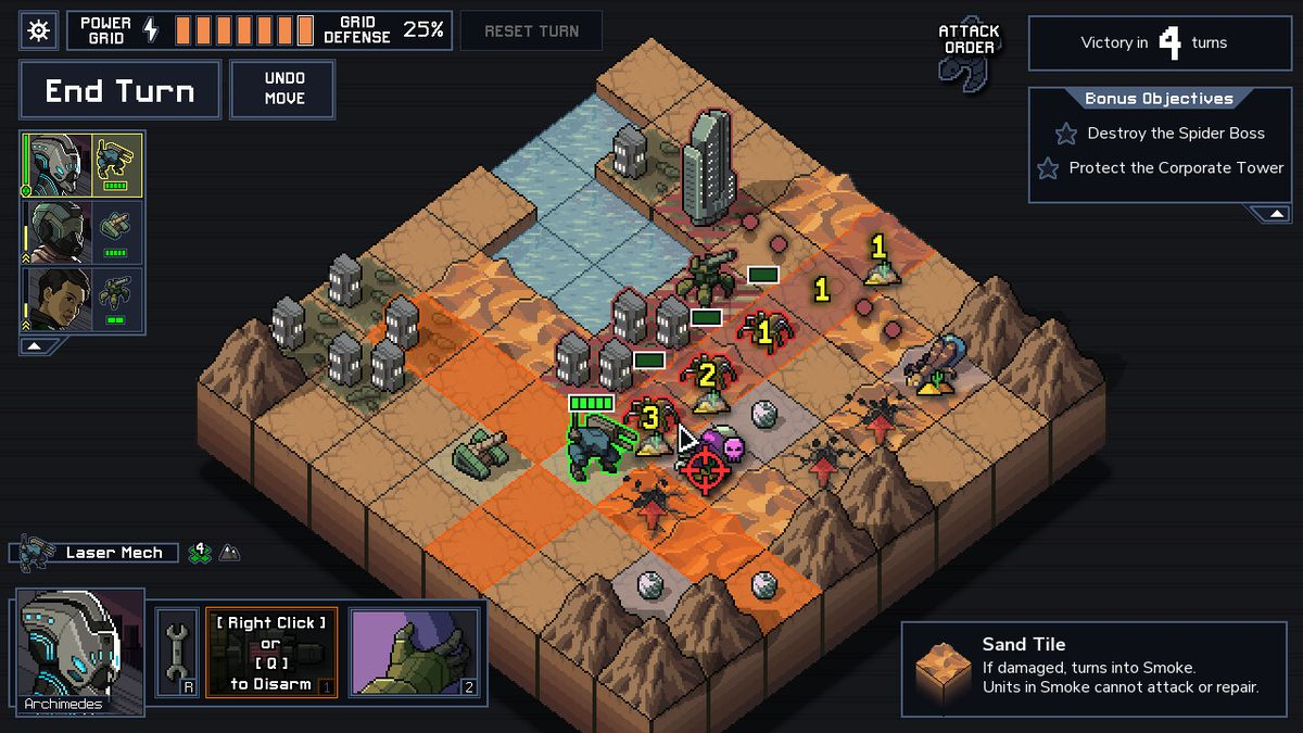 An eight-by-eight grid where Into the Breach's battles play out will include flat tiles, cities and water features as well as mountains