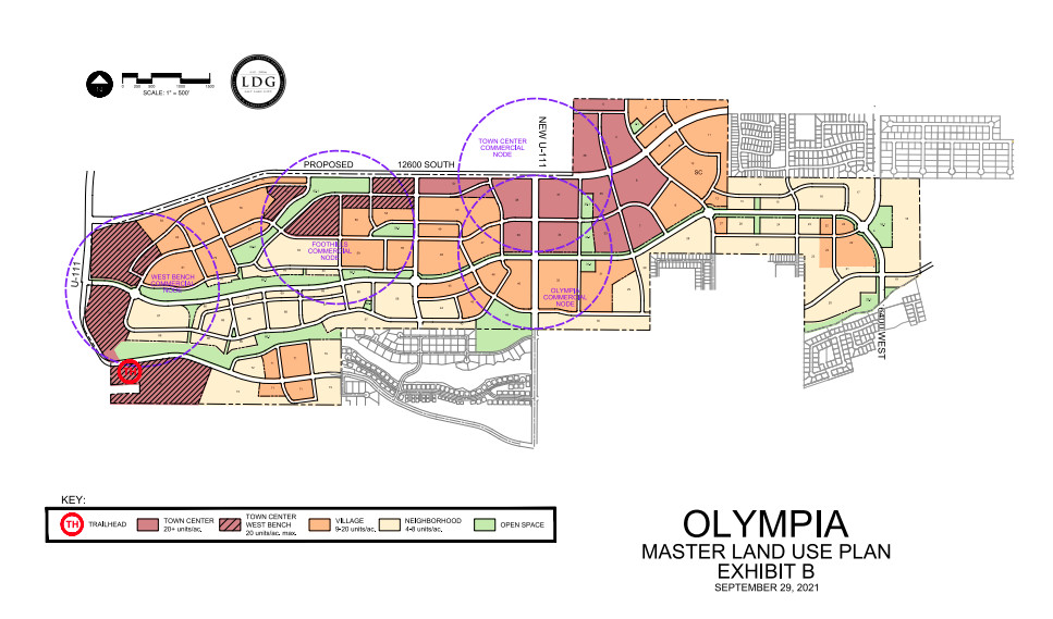 A land use maps depicts Olympia, a proposed development for 933 acres west of Herriman.
