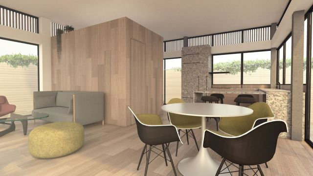 Interior rendering with table and chairs