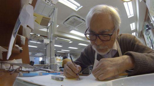"Miyazaki at work on the short film ""Boro the Caterpillar"""