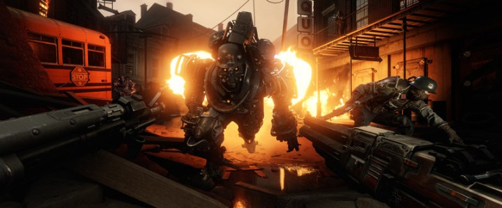 Wolfenstein 2: The New Colossus - dual-wielding weapons against oncoming flame trooper
