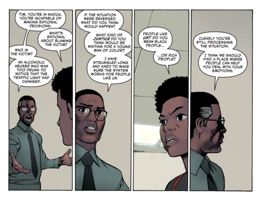 Lucious Fox and his son Tim/Jace argue about the measures Lucious is taking to protect Tim from culpability in his distracted driving hit-and-run in The Next Batman: Second Son, DC Comics (2021).