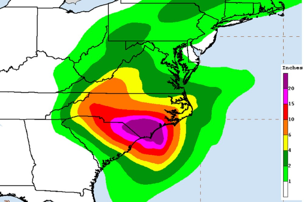medium resolution of hurricane florence rainfall forecast as of friday morning noaa nwc ncep wpc