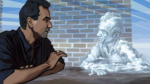 A Rotoshopped image of a man talking to a second man made of clouds in Waking Life