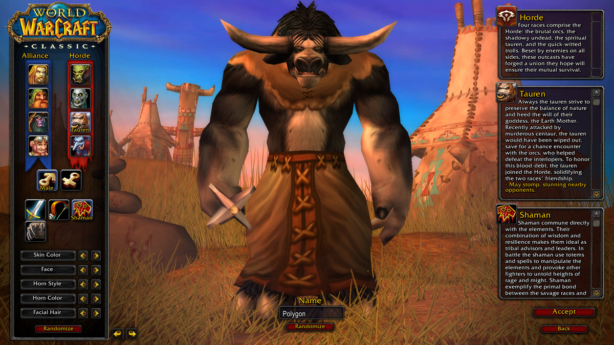 Image of World of Warcraft Classic's character creation screen