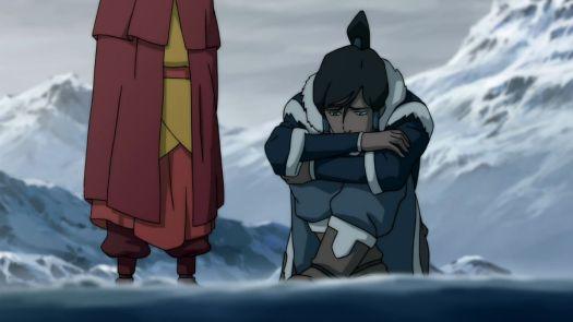 Korra sits by a cliff as Aang stands behind her in Legend of Korra Book 1 Endgame