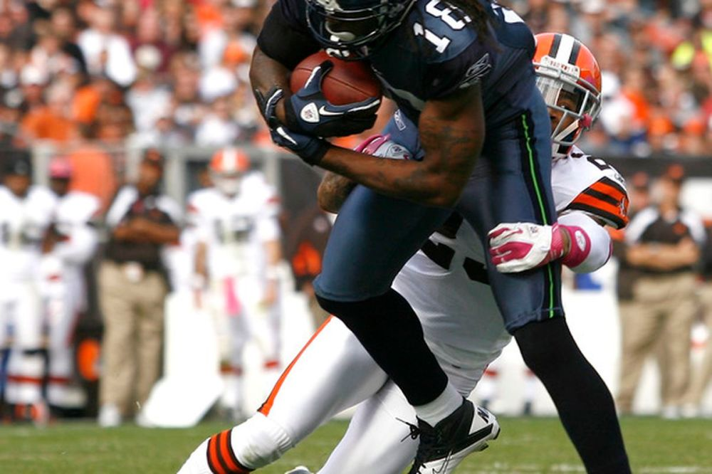 medium resolution of cleveland oh october 23 defensive back joe haden 23 of the cleveland browns tackles wide receiver sidney rice 18 the seattle seahawks at cleveland