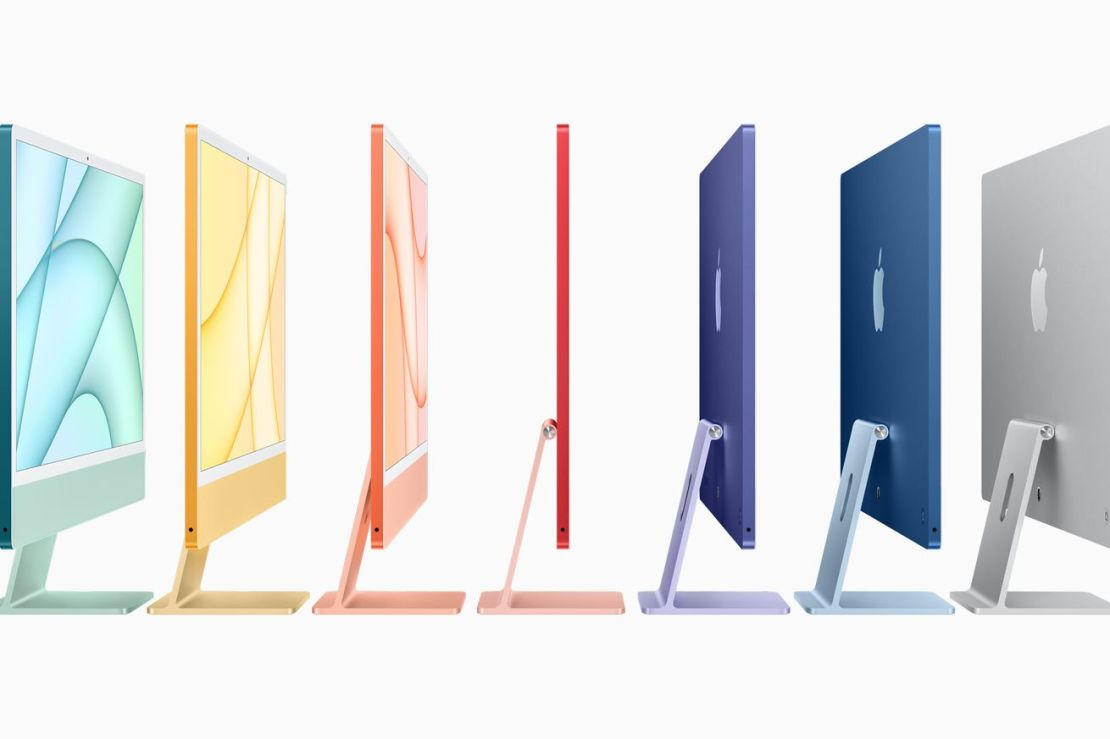 An image showing all seven colors of the new iMac: green, yellow, orange, pink, purple, blue, and silver.