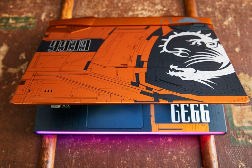 The MSI GE66 Raider Dragonshield Edition half open from above.
