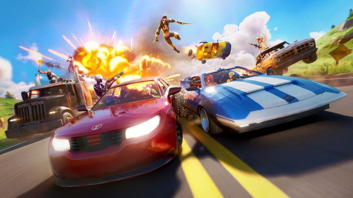 Art from Fortnite's Joy Ride event where two cars race on the Fortnite island