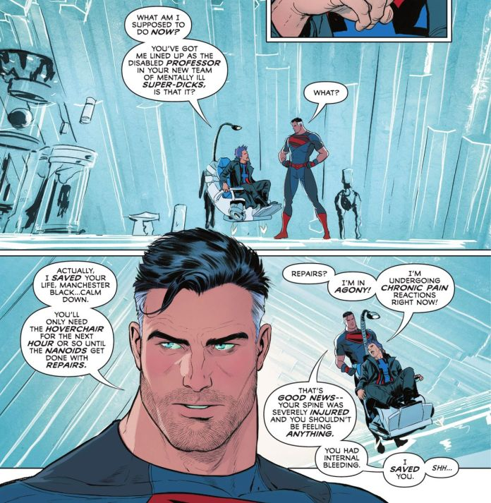 From a hovering chair, Manchester Black excoriates Superman for various things as Superman gently explains that he has saved Manchester's life and repaired his spine and needs his help in Superman and the Authority #1 (2021)