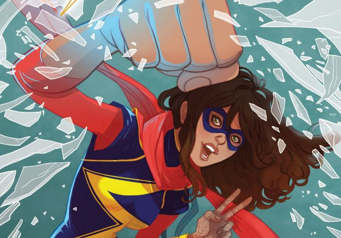 Artwork of Ms. Marvel (aka Kamala Khan) punching through glass with a giant fist