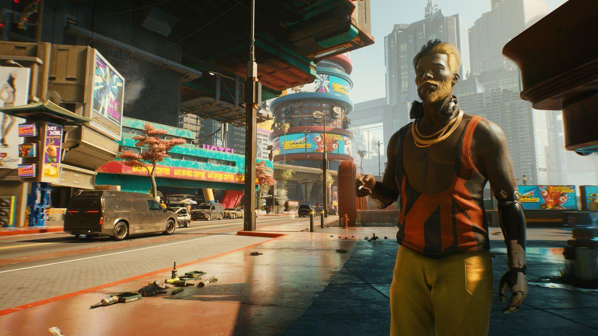A man at a street corner in Cyberpunk 2077