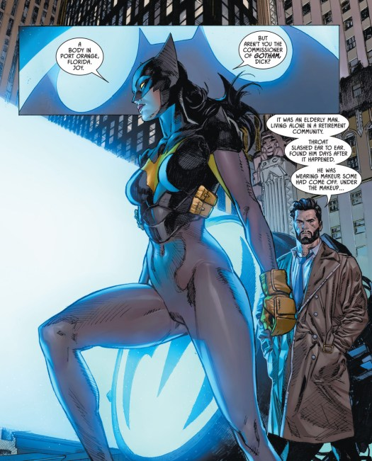 Helena Wayne/Batwoman, talks with police commissioner Dick Grayson about the discovery of the Joker's slain body in a Florida retirement community in Batman/Catwoman #3, DC Comics (2021). Her costume is a skin-tight grey suit, a black and yellow chest plate, and a black bat cowl that mimics the silhouette of the very first Batman design.