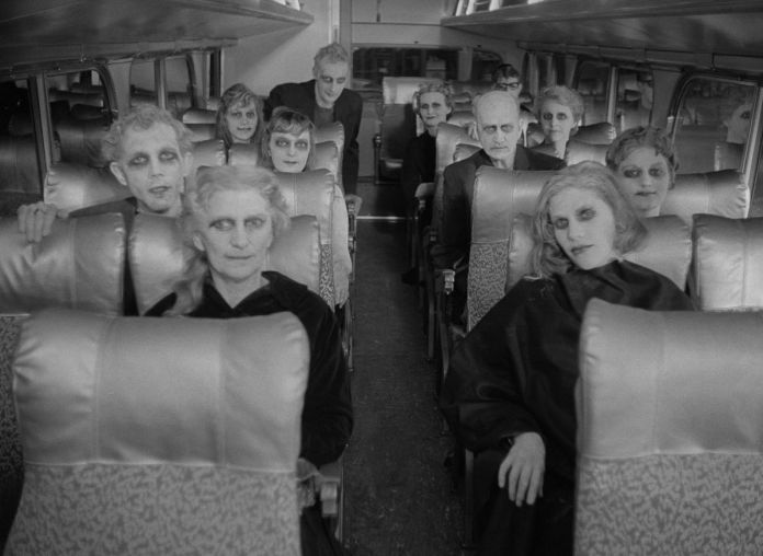 the phantasms sit on a bus in carnival of souls