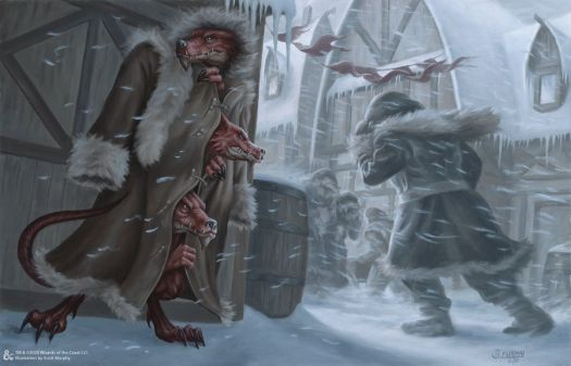 Three kobolds in a trenchcoat stand on a streetcorner.