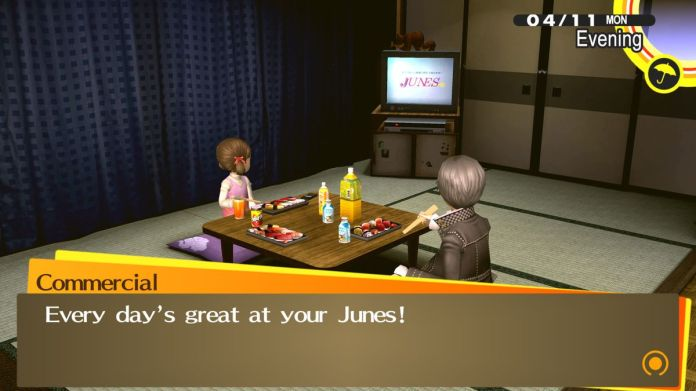 "The TV plays ""every day is great at your Junes,"" while the protagonist and Nanako eat"
