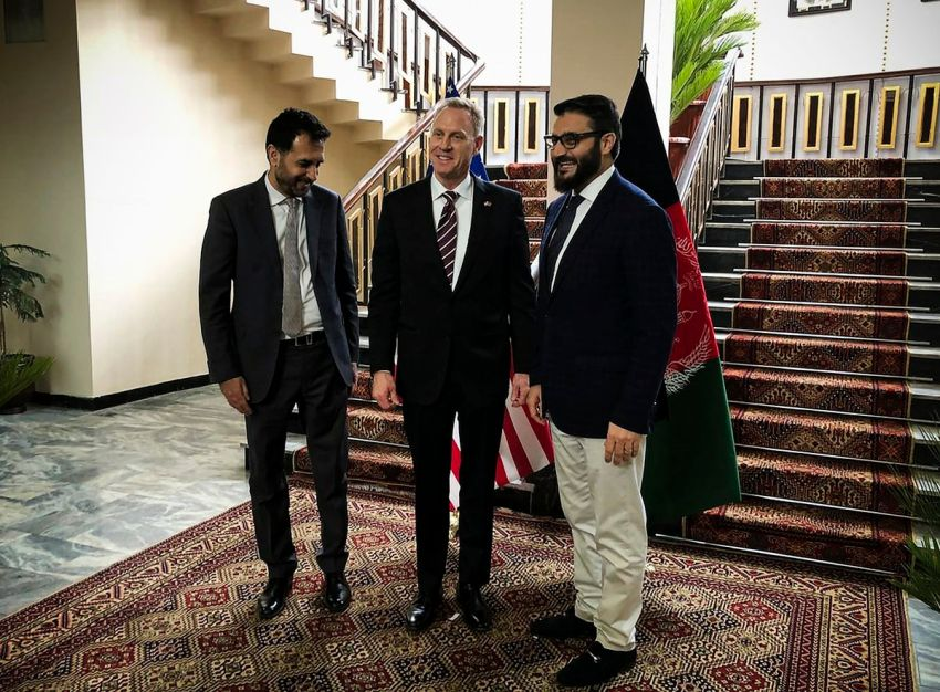 Acting Pentagon chief Patrick Shanahan stands with Afghanistan's acting Defense Minister Asadullah Khalid and Afghan National Security Adviser Hamdullah Mohib.