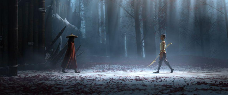Raya and namaari walking towards each other in the mist