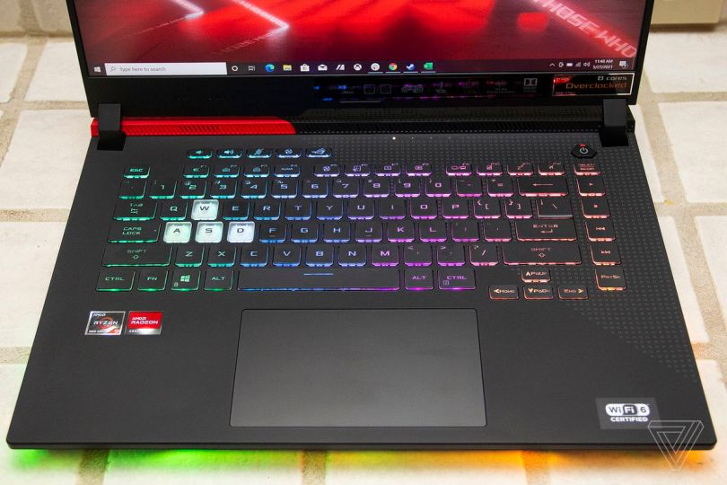 The Asus ROG Strix G15 Advantage Edition keyboard seen from above.