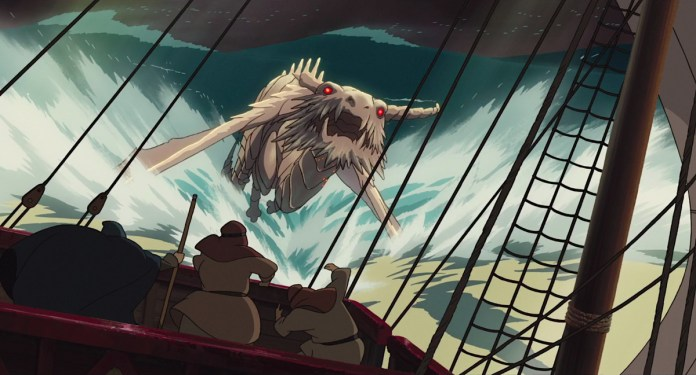 A red-eyed white dragon tears by a sailboat in an early scene in Studio Ghibli's Tales from Earthsea