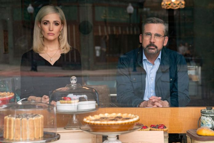 Rose Byrne and Steve Carell look out over an array of bakery pies and cakes in Irresistible, which is actually about politics, not people who can't stop eating pastry.