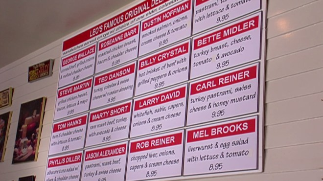 The menu at Leo's Deli from a scene in Curb Your Enthusiasm.
