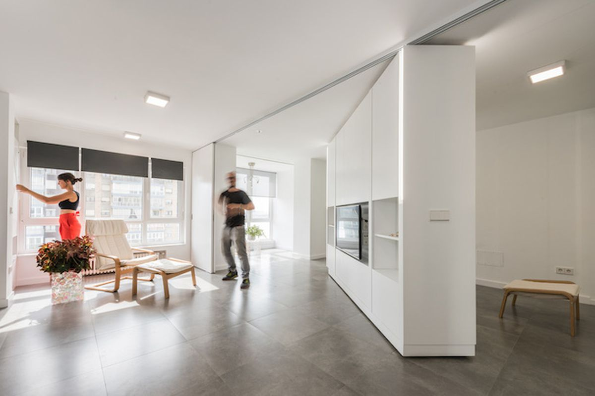 Movable Walls Transform Giant Studio Into TwoBedroom Pad  Curbed